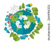 eco friendly concept  vector... | Shutterstock .eps vector #264496331