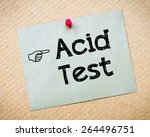 Small photo of Acid test Message. Recycled paper note pinned on cork board. Concept Image