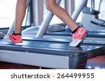 fit female legs on a treadmill...   Shutterstock . vector #264499955