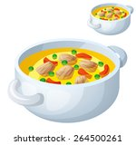 bollion with meat and... | Shutterstock .eps vector #264500261