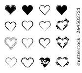 abstract hearth icon set   Shutterstock .eps vector #264502721