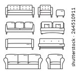 vector outlined sofa furniture... | Shutterstock .eps vector #264510911