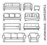 vector outlined sofa furniture... | Shutterstock .eps vector #264510911