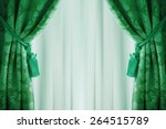beautiful green curtains with... | Shutterstock . vector #264515789