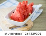 fresh watermelon and glass of... | Shutterstock . vector #264529301