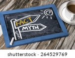 Small photo of fact and myth concept signpost hand drawing on blackboard
