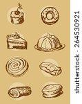 cake bakery set vector...   Shutterstock .eps vector #264530921