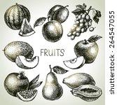 hand drawn sketch fruit set.... | Shutterstock .eps vector #264547055