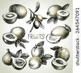 hand drawn sketch fruit set.... | Shutterstock .eps vector #264547091