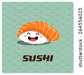 vector cute sushi character... | Shutterstock .eps vector #264556025