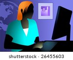 illustration of a lady working... | Shutterstock .eps vector #26455603