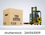 forklift truck with free... | Shutterstock . vector #264563009