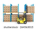 forklift truck work in... | Shutterstock . vector #264563015