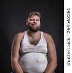 fat unhappy man with beard in...   Shutterstock . vector #264563285