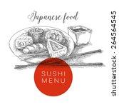 sushi menu  vector illustration | Shutterstock .eps vector #264564545