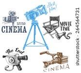 retro cinema icons  vector hand ... | Shutterstock .eps vector #264564731