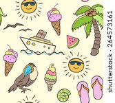summer seamless pattern with... | Shutterstock .eps vector #264573161
