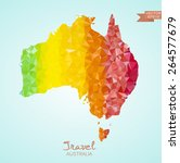 poly map of australia isolated... | Shutterstock .eps vector #264577679
