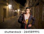 night sportsman taking energy... | Shutterstock . vector #264589991