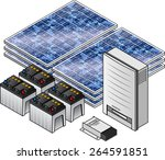 a domestic household solar... | Shutterstock .eps vector #264591851