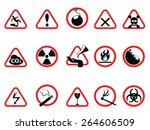 danger icons set  triangular... | Shutterstock .eps vector #264606509