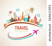 world travel  landmarks... | Shutterstock .eps vector #264611501