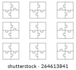 set of white puzzles  vector | Shutterstock .eps vector #264613841