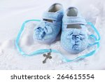 baby shoe and cross for... | Shutterstock . vector #264615554