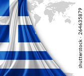 Greece Flag And World Map...