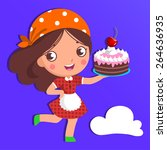 vector girl with a birthday... | Shutterstock .eps vector #264636935