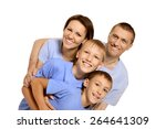 portrait of a cheerful family... | Shutterstock . vector #264641309