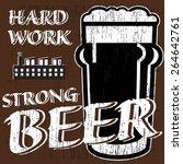 vector glass of beer with... | Shutterstock .eps vector #264642761
