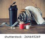 whey protein powder in scoop... | Shutterstock . vector #264645269