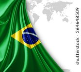 brazil flag and world map... | Shutterstock . vector #264648509