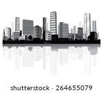 cityscape on the river. black... | Shutterstock .eps vector #264655079