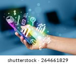 smartphone with finance and... | Shutterstock . vector #264661829