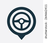 steering wheel icon map pin on... | Shutterstock .eps vector #264662411