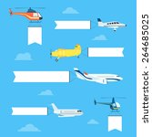 flat airplanes and helicopters... | Shutterstock .eps vector #264685025
