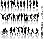silhouettes of people in all...   Shutterstock . vector #26469241