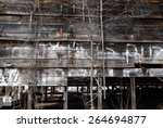 Ruined Old Tobacco Barn With...