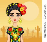 animation mexican girl in an... | Shutterstock .eps vector #264701231