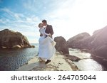 portrait of beautiful bride and ... | Shutterstock . vector #264705044