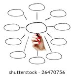 Hand drawing an empty diagram - stock photo