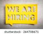 """Small photo of """"We are hiring"""" yellow banner on white texture background. Job board design, template."""