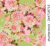 seamless pattern bouquet of... | Shutterstock . vector #264718715