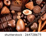 chocolates background.... | Shutterstock . vector #264728675