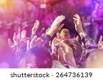 fans applauding to music band... | Shutterstock . vector #264736139