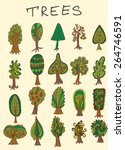 set of hand drawn doodle forest ... | Shutterstock .eps vector #264746591