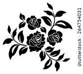 black silhouette of roses... | Shutterstock .eps vector #264754031