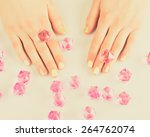 beautiful woman's nails with... | Shutterstock . vector #264762074